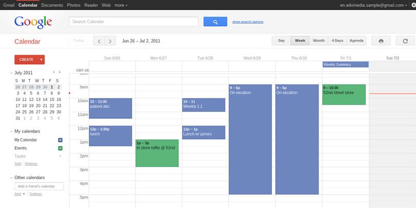 Google kalendár screenshot