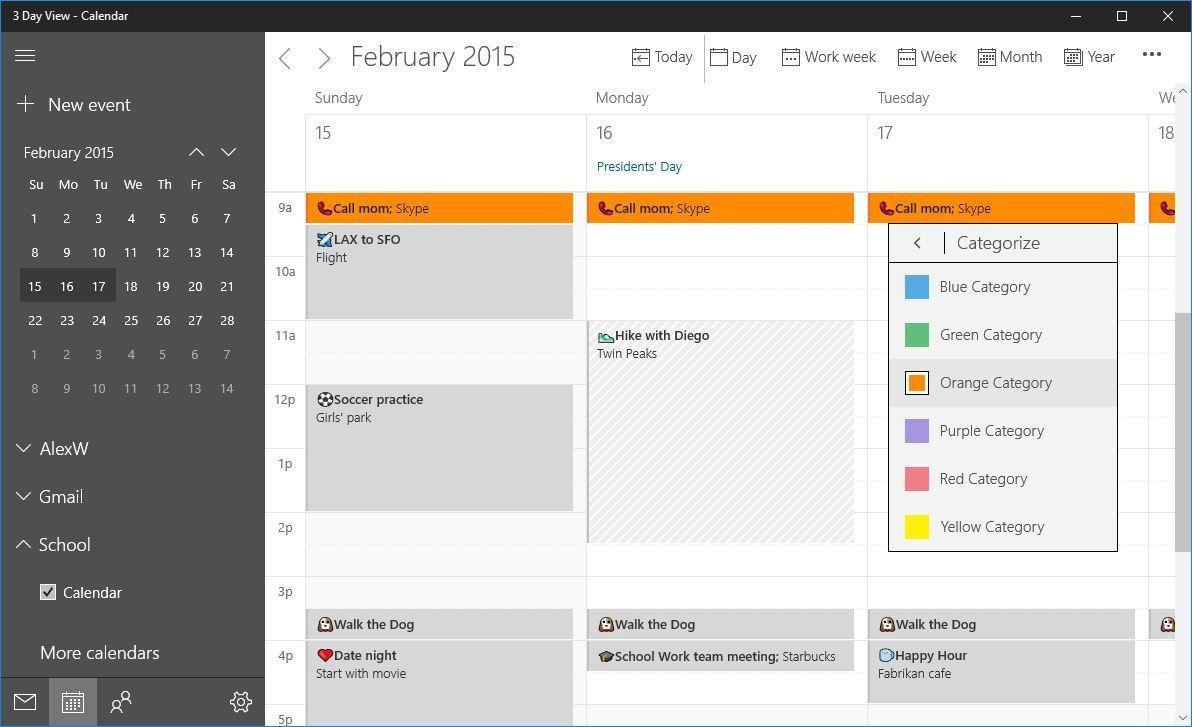 Kalendár Windows 10