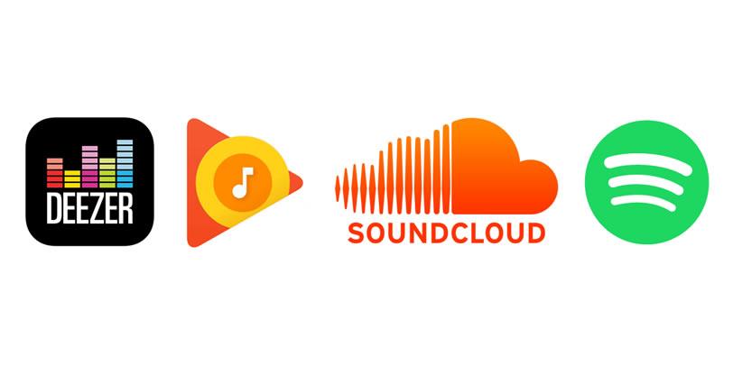 Streamovacie hudobné služby - logá Deezer, Google Music, Soundcloud, Spotify